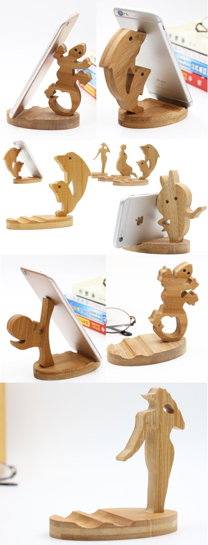 Cute Wooden Animal Iphone Cell Phone Stand Mount Holder