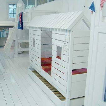 Spielbett Kinderbett ROOFUS für schräge Wände/Dachschrägen, weiss ... | {Kindermöbel online 49}