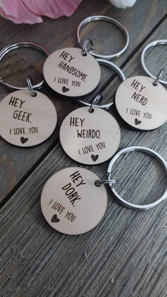 Hey nerd I love you keychain, funny gift, boyfriend gift, valentine's day gift, anniversary, geek, weirdo, dork, handsome, gift box, husband