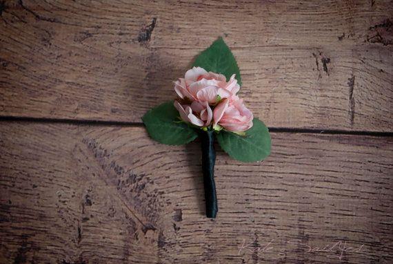 Blush Pink Rose Boutonniere Silk Wedding By Katesaidyes On Etsy