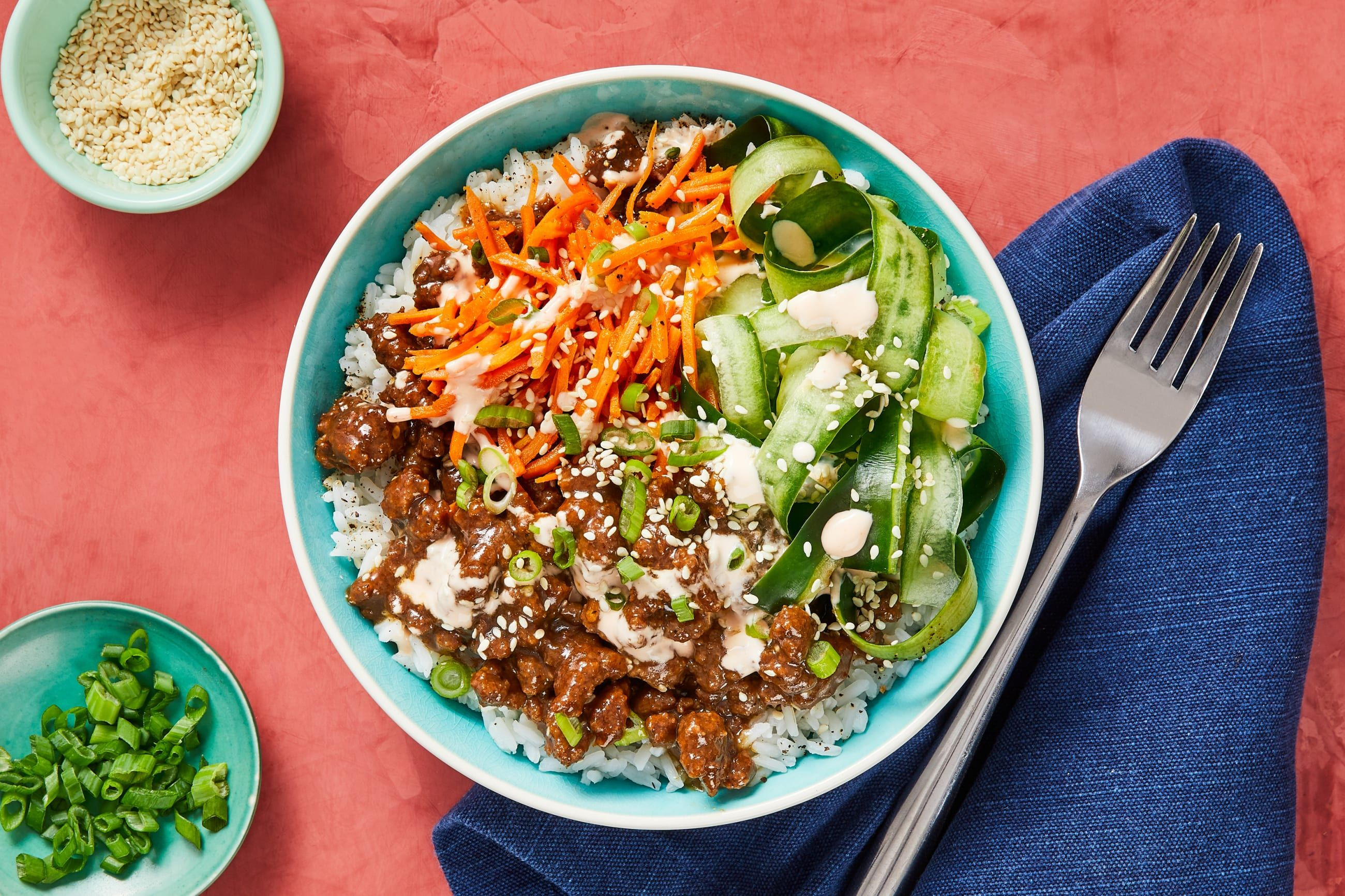 Beef Bulgogi Bowls with Carrots, Pickled Cucumber ...