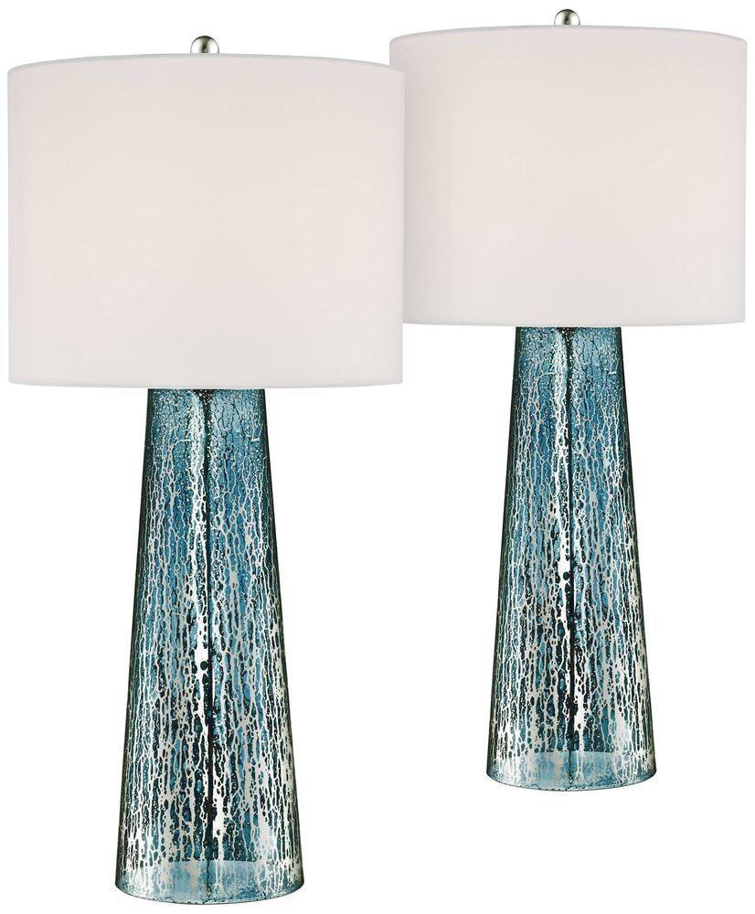 Coastal table lamps set of 2 blue mercury glass column for living room bedroom 360lighting coastal