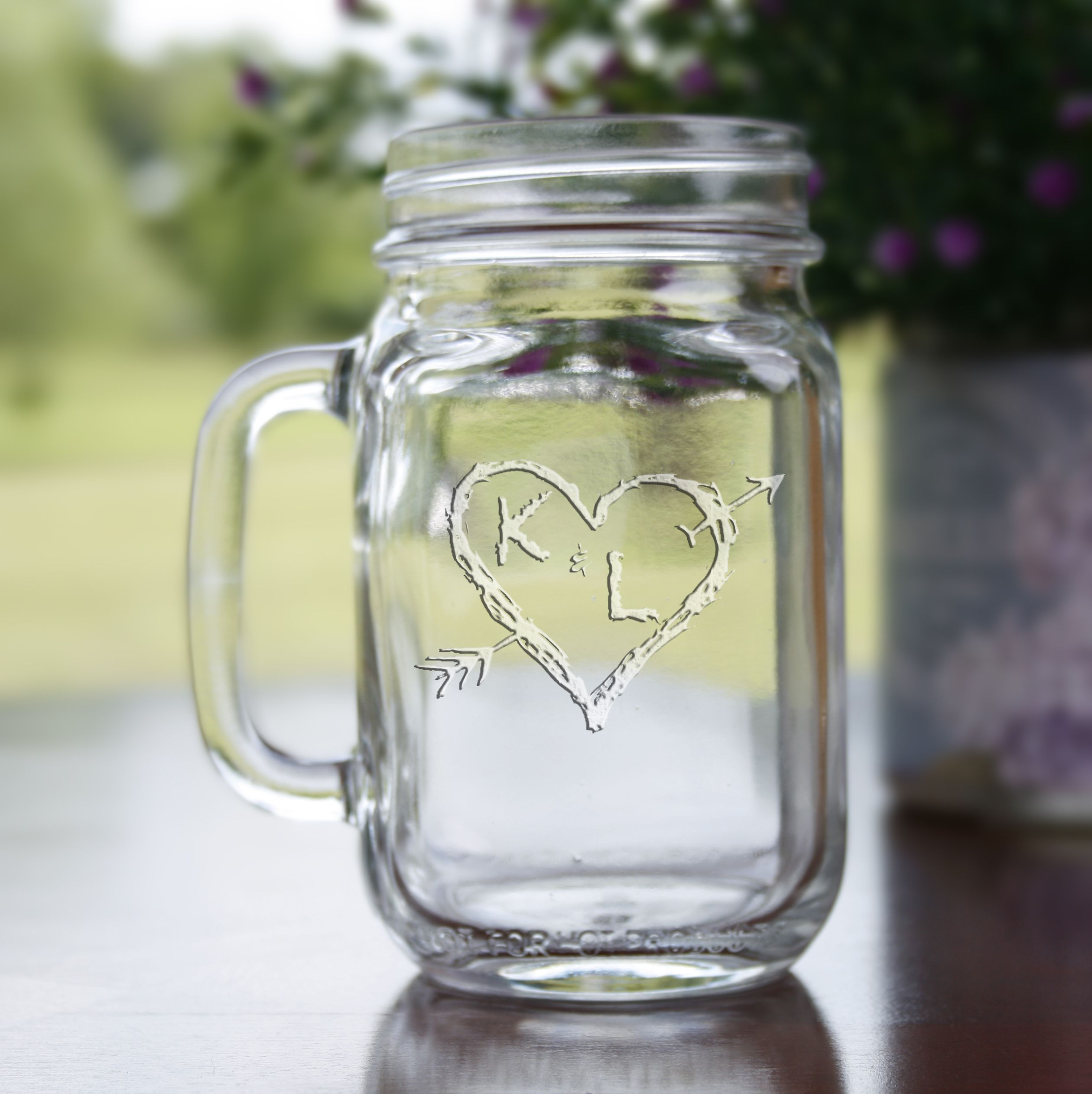 Our Engraved Mason Jar Glass Is The Perfect Wedding Gift For The Bride And Groom Bridesmaid Engraved Mason Jar Monogrammed Mason Jars Personalized Mason Jars