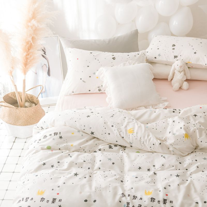 Bedding Duvet Queen Linen Bed Set Princess Sheet Set Cotton Queen Sheet Sets Bedroom Linen Stars Print 4pcs Bedding S Bedroom Sets Bed Linen Sets Linen Bedroom