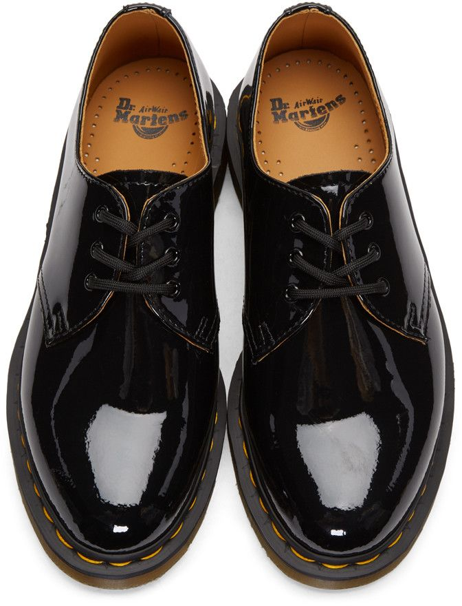 Dr Martens Black Patent Three Eye 1461 Derbys Patent Leather Oxfords Doc Martens Loafers Martens