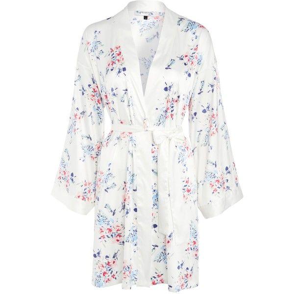 John Lewis Satin Pastel Bloom Kimono, Ivory ($64) ❤ liked on ...