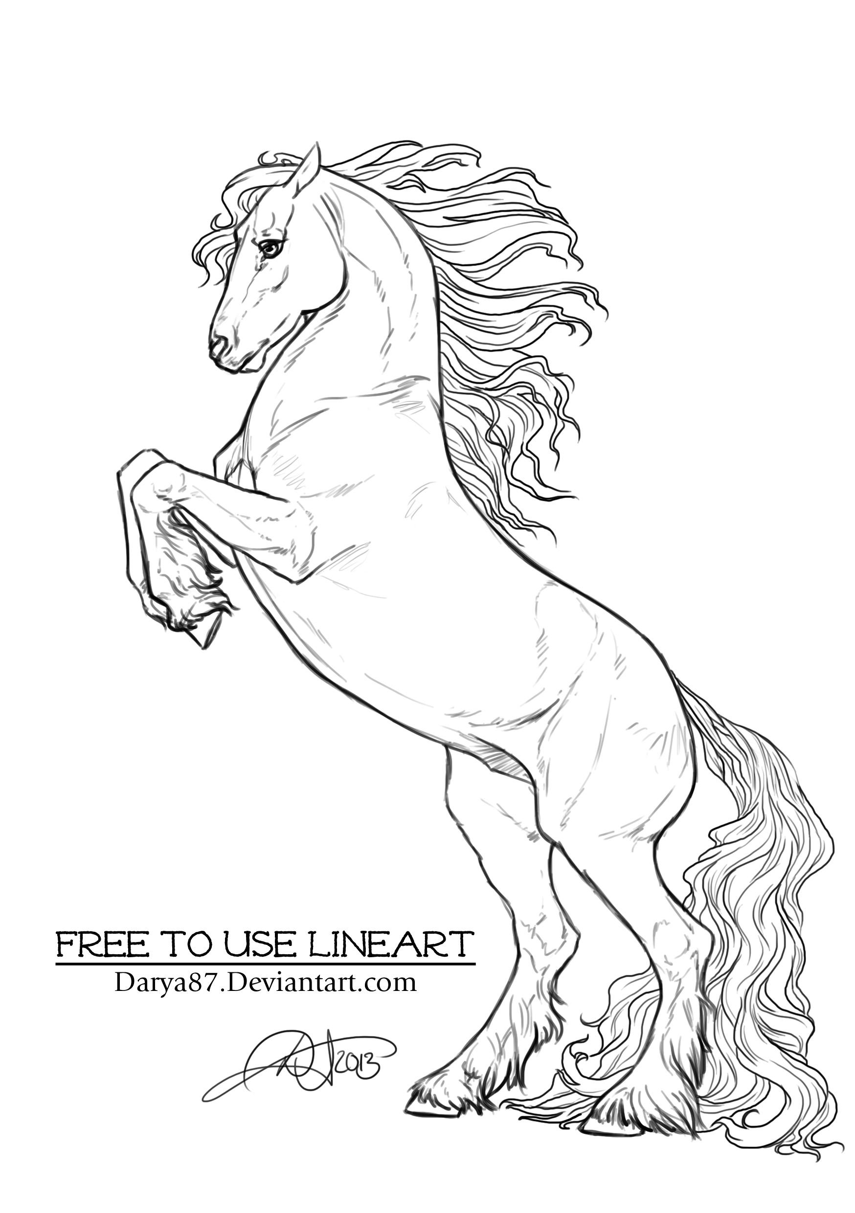 Free To Use Lineart Rearing Frisian By Darya87 D6nivd0 Png 1748 2480 Horse Coloring Pages Horse Coloring Horse Drawings