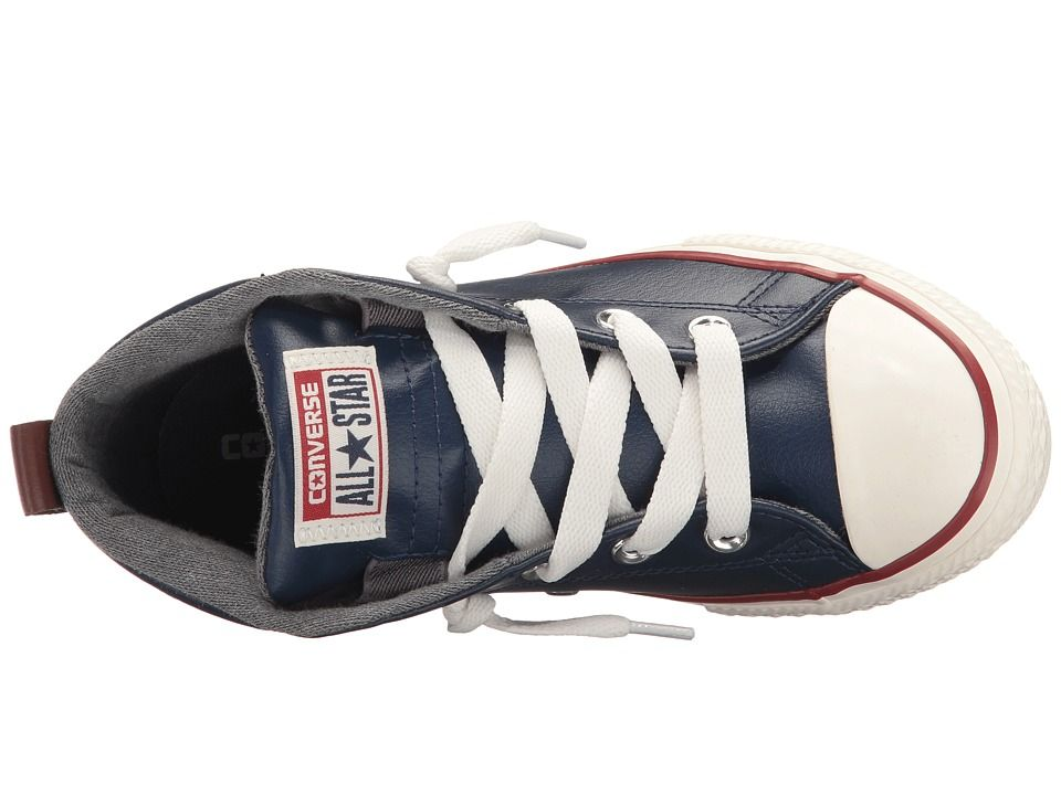 1343a63d2734 Converse Kids Chuck Taylor All Star Street Leather and Fleece Mid (Little  Kid Big Kid) Boys Shoes Midnight Navy Terra Red Egret