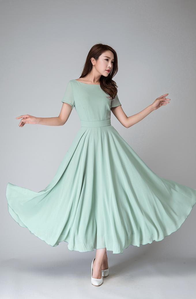a899e9b21a4a Mint chiffon dress, maxi dress women, bridesmaid dress, summer dress ...