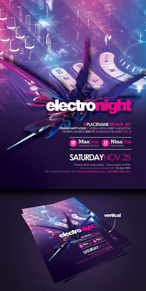 Flyer Electro Night  Brochure Flyer Poster
