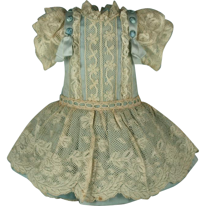 Wonderful Antique French Valenciennes Lace Bebe Dress for JUMEAU, BRU other French Doll