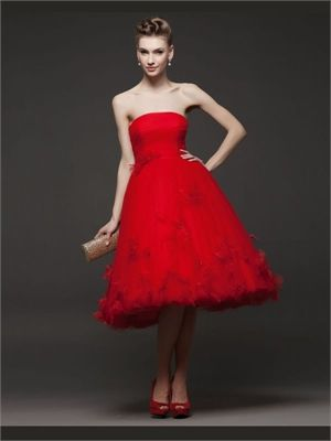 red tea length tulle organza gown