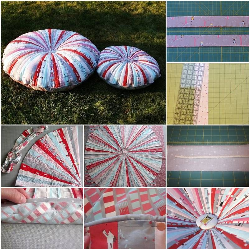 How To Make Patchwork Round Pillow Step By DIY Tutorial Instructions