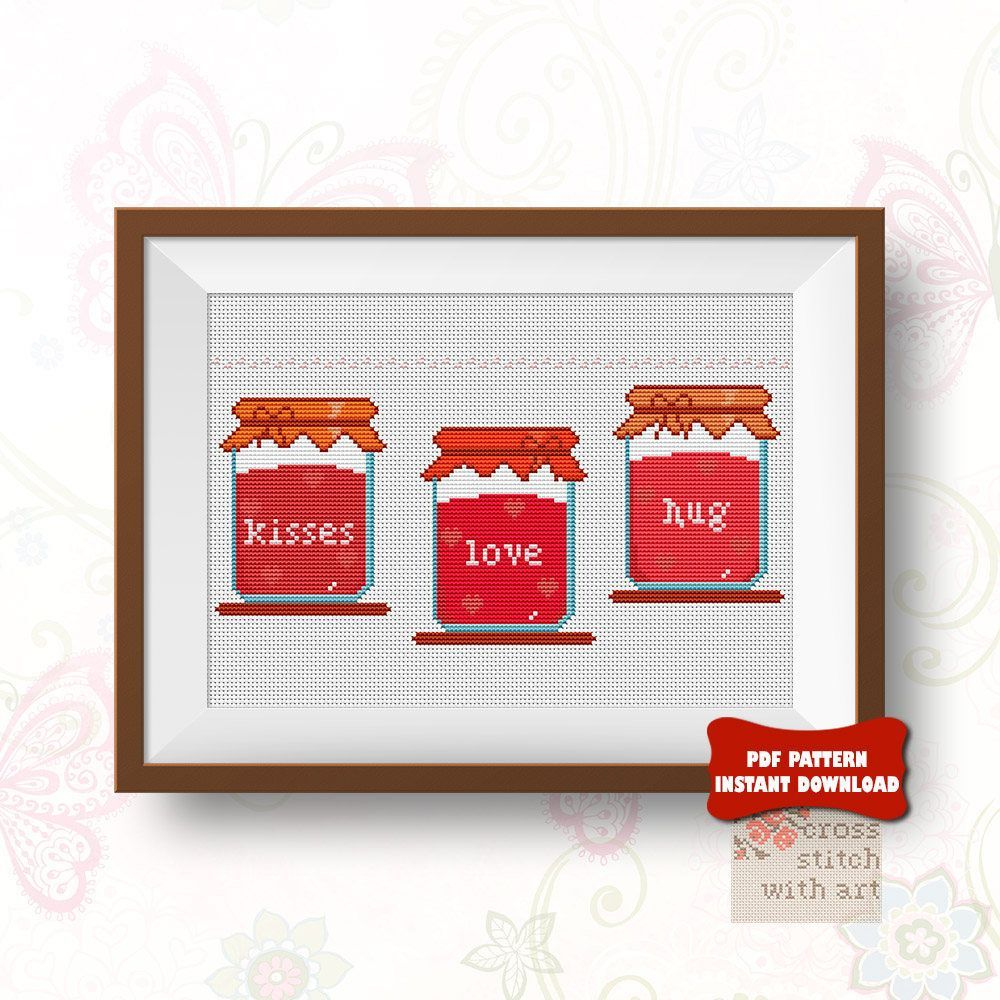 Romantic Modern cross stitch pattern Love DIY Valentine gift or ...