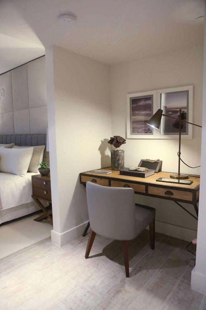 1 sobe miami high rise homes design by Debora Aguiar natural refined neutral desk nook