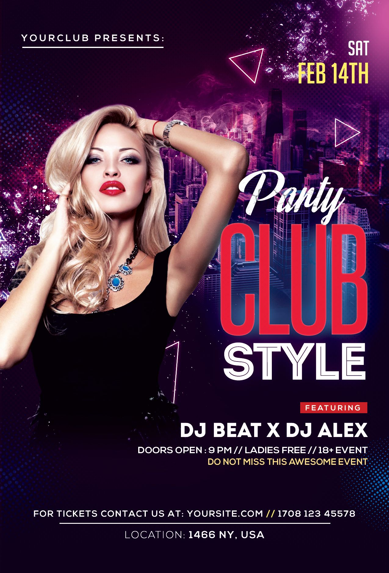 Club Style Free PSD Flyer Template Free psd flyer