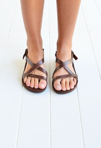 ee8fedb3b839 Angie Leather Greek Sandals - Brown - The Freedom State