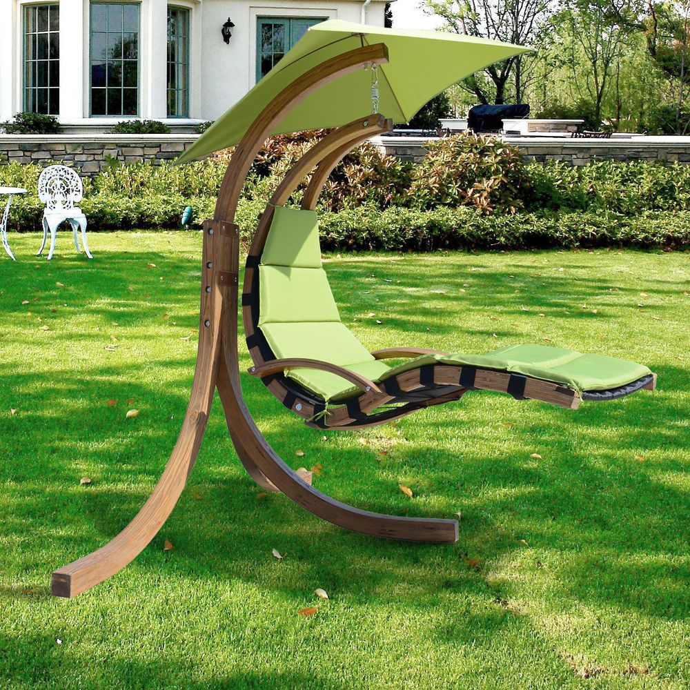 Outdoor swing chair with stand - Outsunny Outdoor Wooden Hammock Hanging Lounger Seat Porch Swing Chair W Canopy Outsunny