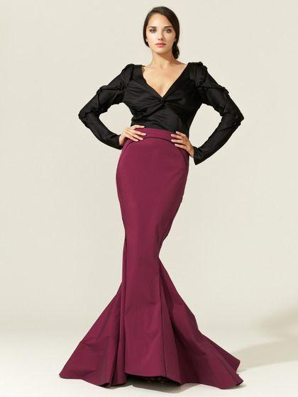 Zac Posen Silk Stretch Faille Mermaid Skirt