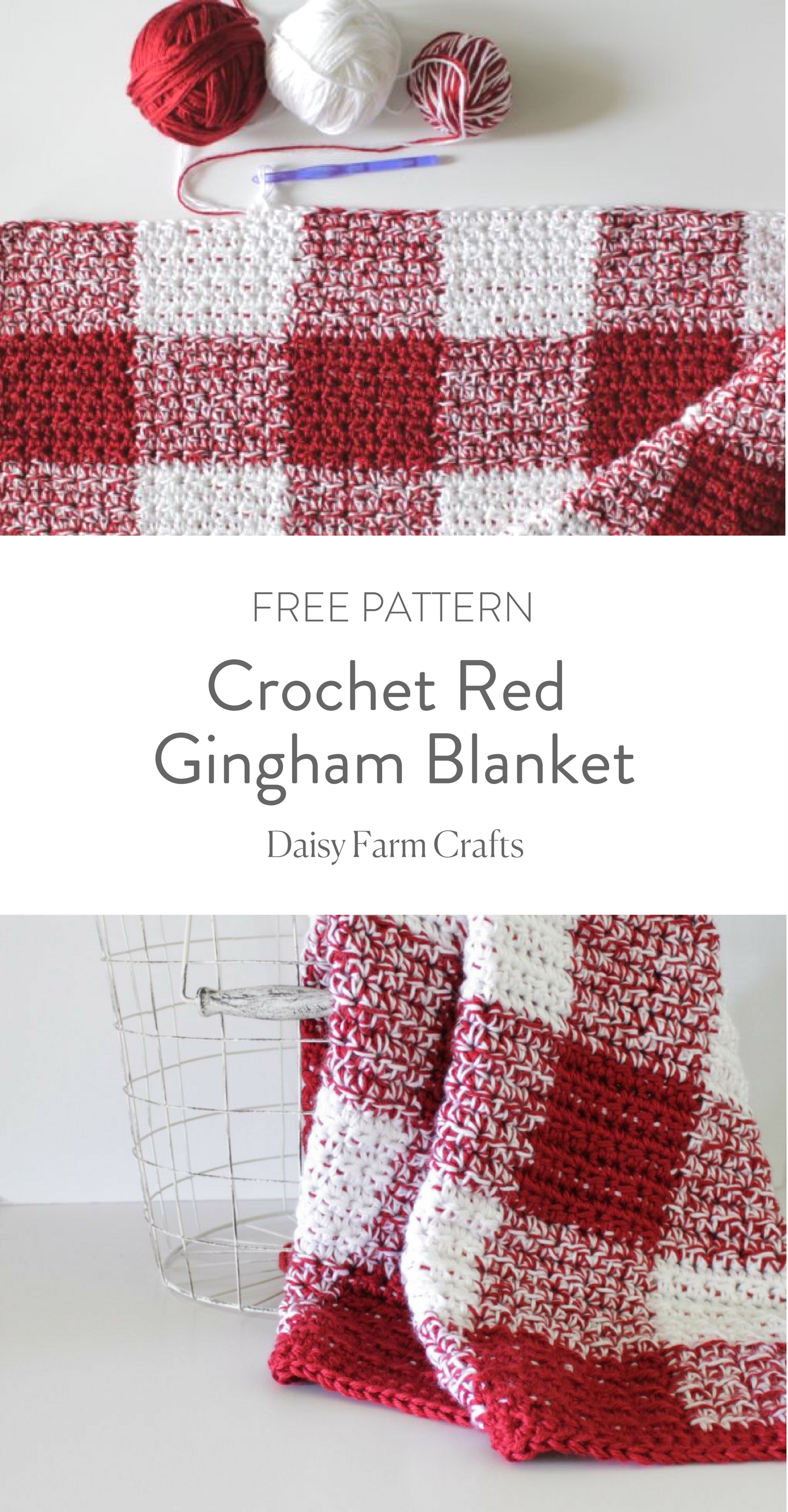 Crochet Red Gingham Blanket - Free Pattern | Crochet | Pinterest ...