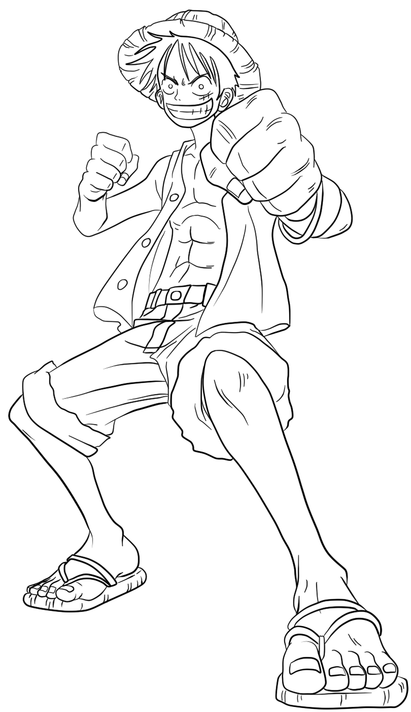 luffy - lineart by ElseWhereLand on DeviantArt | LineArt ...