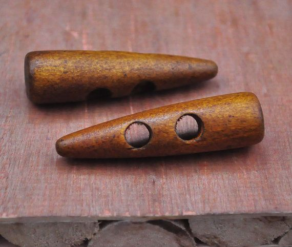 Brown Toggle Coat Buttons Vintage Wooden Tube Buttons Unique Toggle Buttons 3 Brown Toggle Buttons Wooden Toggle Buttons