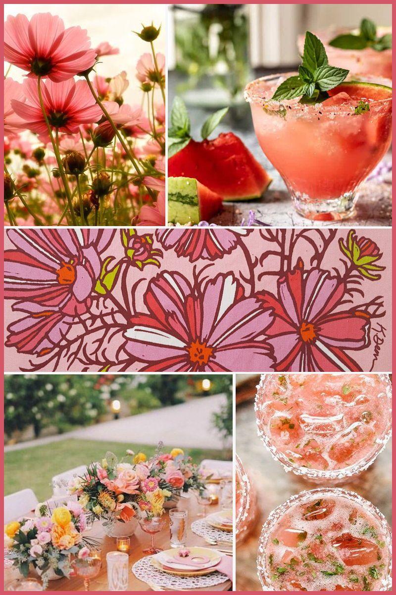 Pink Cosmos Vintage Tea Towel Kitchen Gift Vintage Flowers Etsy Vintage Tea Towels Decorative Kitchen Towels Pink Kitchen Decor