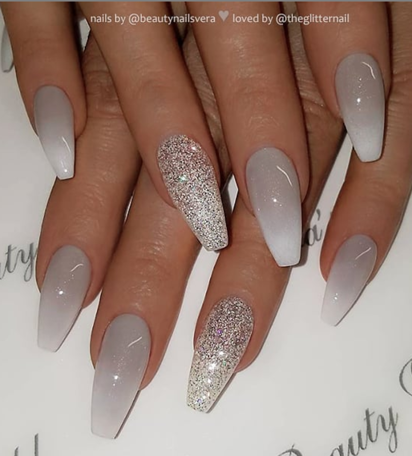 50 Pretty French Pink Ombre And Glitter On Long Acrylic Coffin Nails Design Page 19 Of 53 Latest Fashion Trends For Woman Mauve Nails Grey Acrylic Nails Ombre Nail Designs