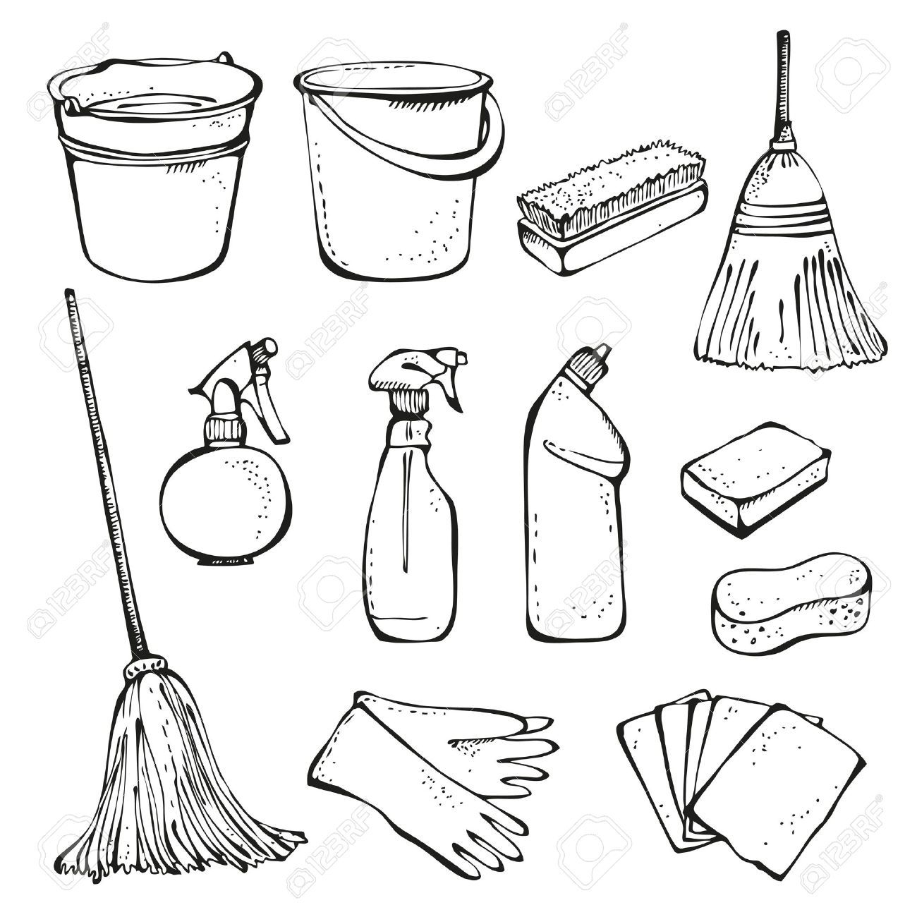 Home Office Cleaning Supplies Doodle Clip Art Icons