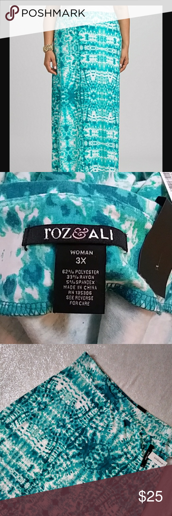 NWT Roz Ali Turquoise Tye Die Maxi Skirt Size 3x