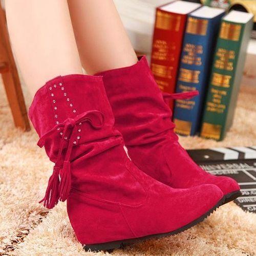 Women Fashion Hidden Heel Autumn Winter Ankle Boots Flat shoes