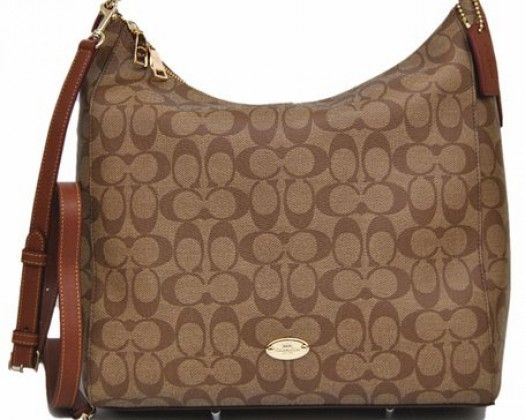 6ad3262526d Coach Signature Celeste Convertible Hobo - Khaki Saddle