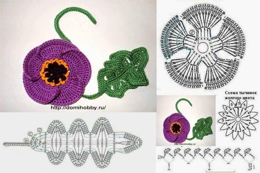 Pin de Silvia Luiza en Flores e folhas de crochê | Pinterest