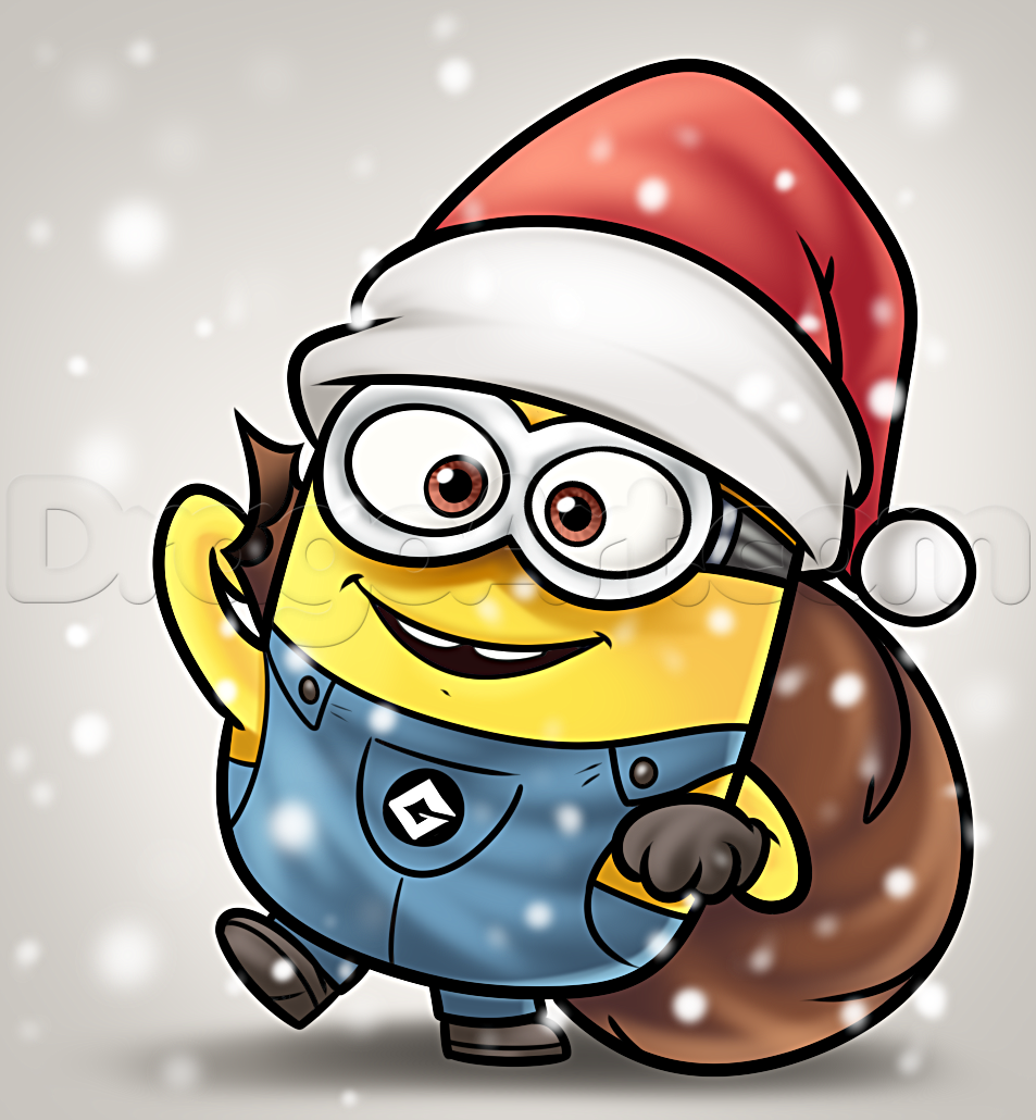 Christmas Cartoon Drawings.How To Draw A Christmas Minion Minion Drawing Minion