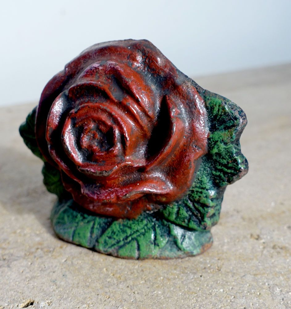Cast iron door stoppers knockers nautical accents nautical decor - Vintage Antique Cast Iron Rose Door Stop Wedge Red