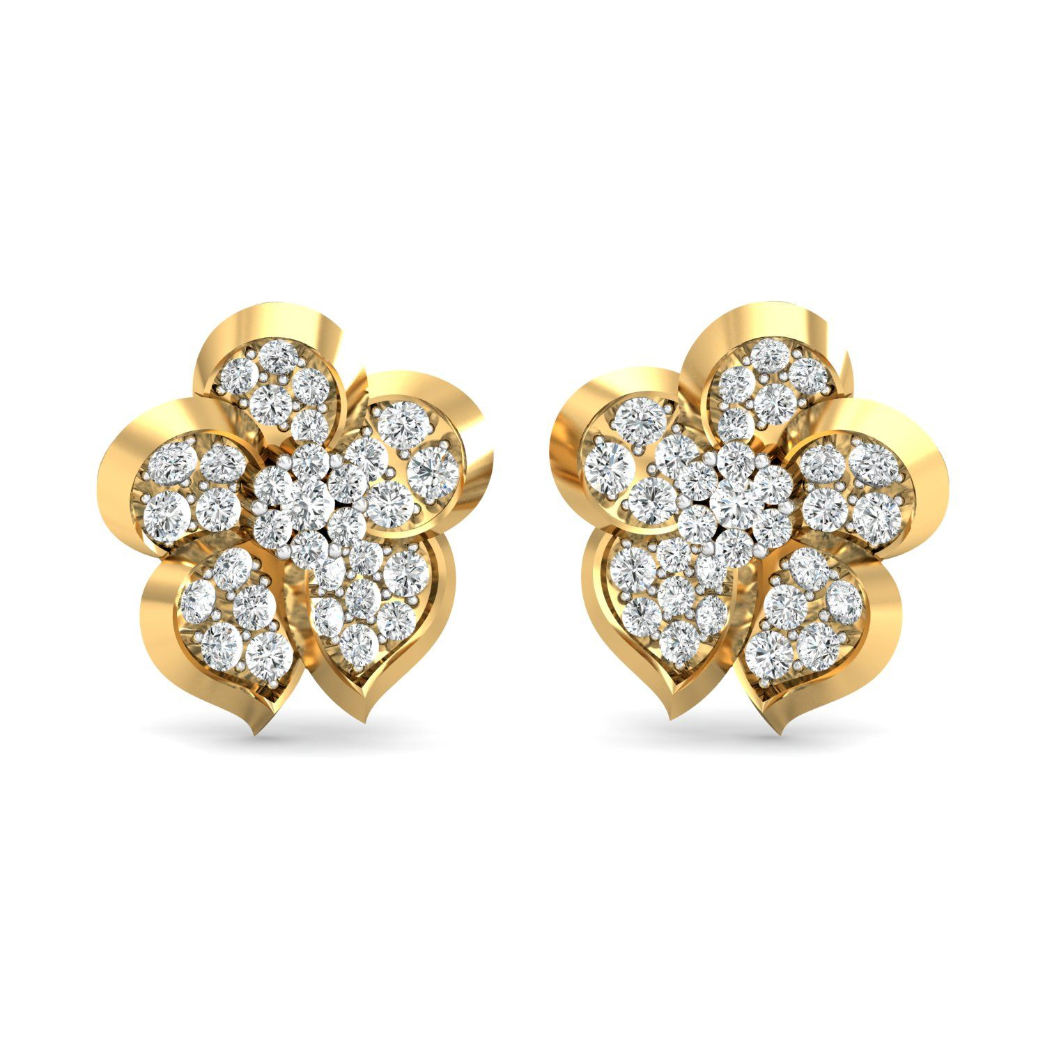5b1e9861948 Gold Earrings 1.032 Ct Real Certified Diamond Everyday