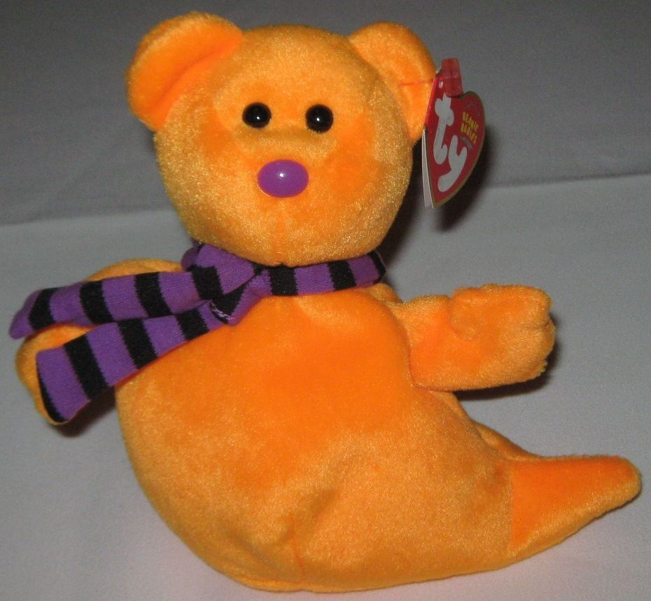 SHIVERS THE ORANGE GHOST - Retired Ty Beanie Baby (Beanies, Babies) #Ty