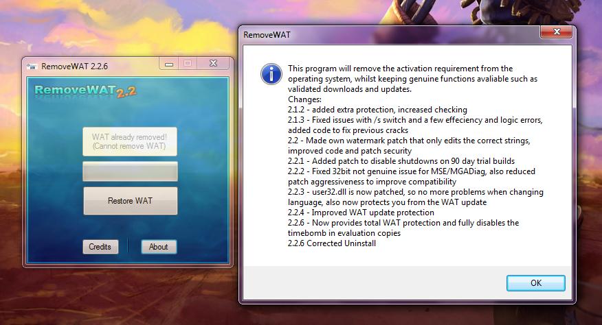 removewat for windows vista free download