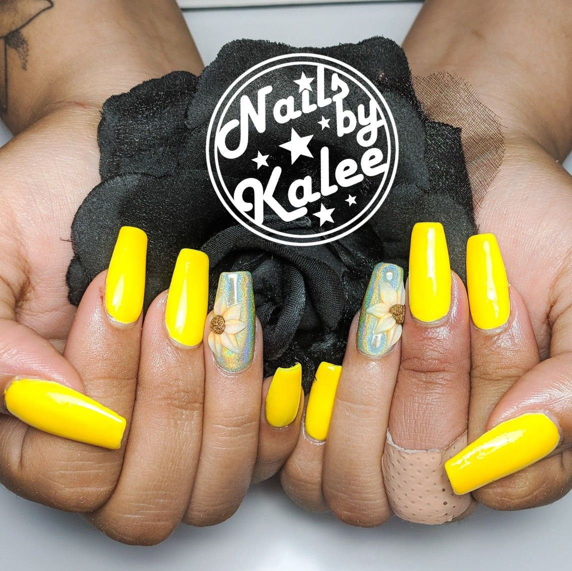 3d sunflowers over Holo nails | Holo nails, Nail designs ...