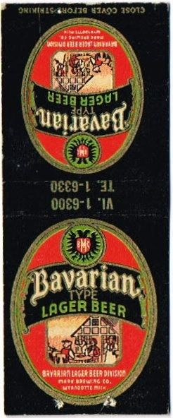Matchcovers Bavarian Type Lager Beer Marx Brewing Co. (Post Prohibition) Wyandotte Michigan United States of America