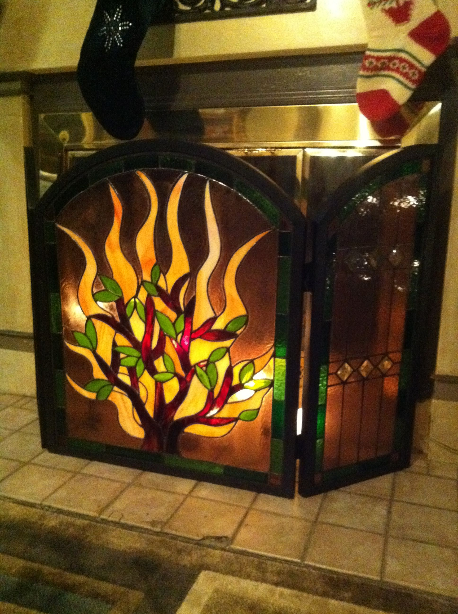 Fireplace Screens Tree Design My Fireplace Made By Me Vicky True Baker Stained