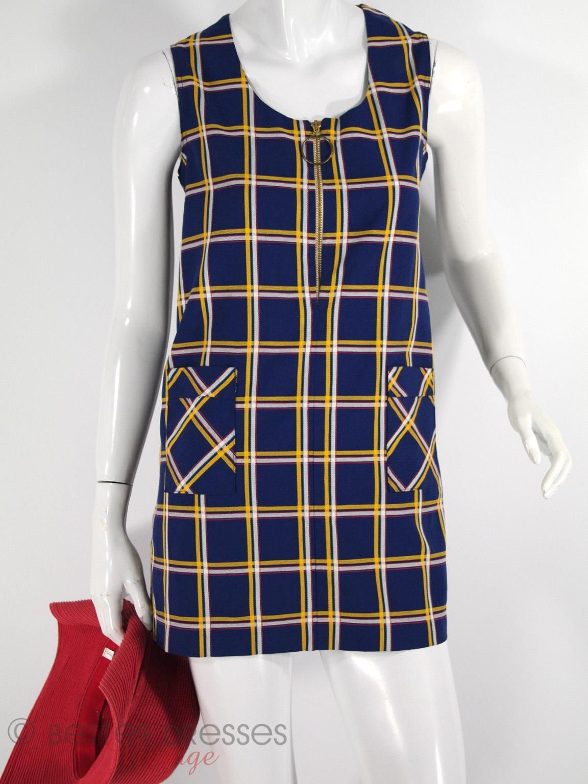 60s 70s Mod Mini Dress In Navy Plaid Mod Mini Dress Mini Dress Mini Shift Dress [ 1536 x 1152 Pixel ]