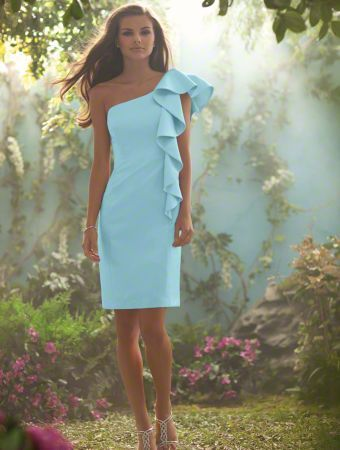 One strap blue dress with ruffle. I pinned this in a mauve color but love this better.