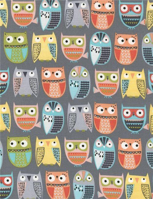 Tissu gris importé des Etats-Unis avec des animaux, Collection : Walk in the Woods