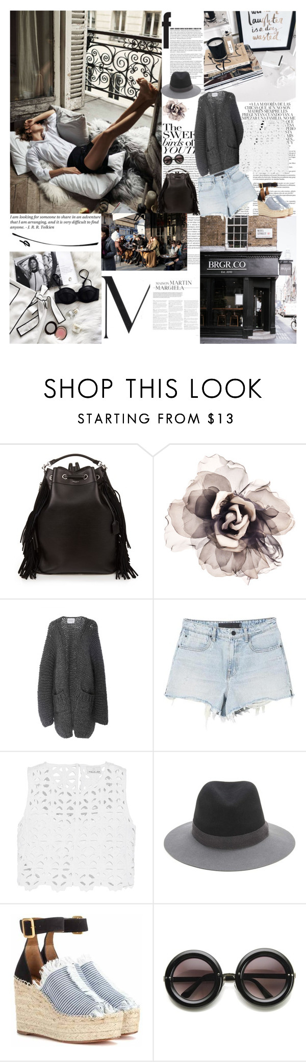 """""""Sunday clears away the rust of the whole week... by Joseph Addison"""" by valentina-back ❤ liked on Polyvore featuring Whiteley, Oris, Dollhouse, Prada, Yves Saint Laurent, Bundle MacLaren Millinery, I Love Mr. Mittens, Alexander Wang, Miguelina and rag & bone"""