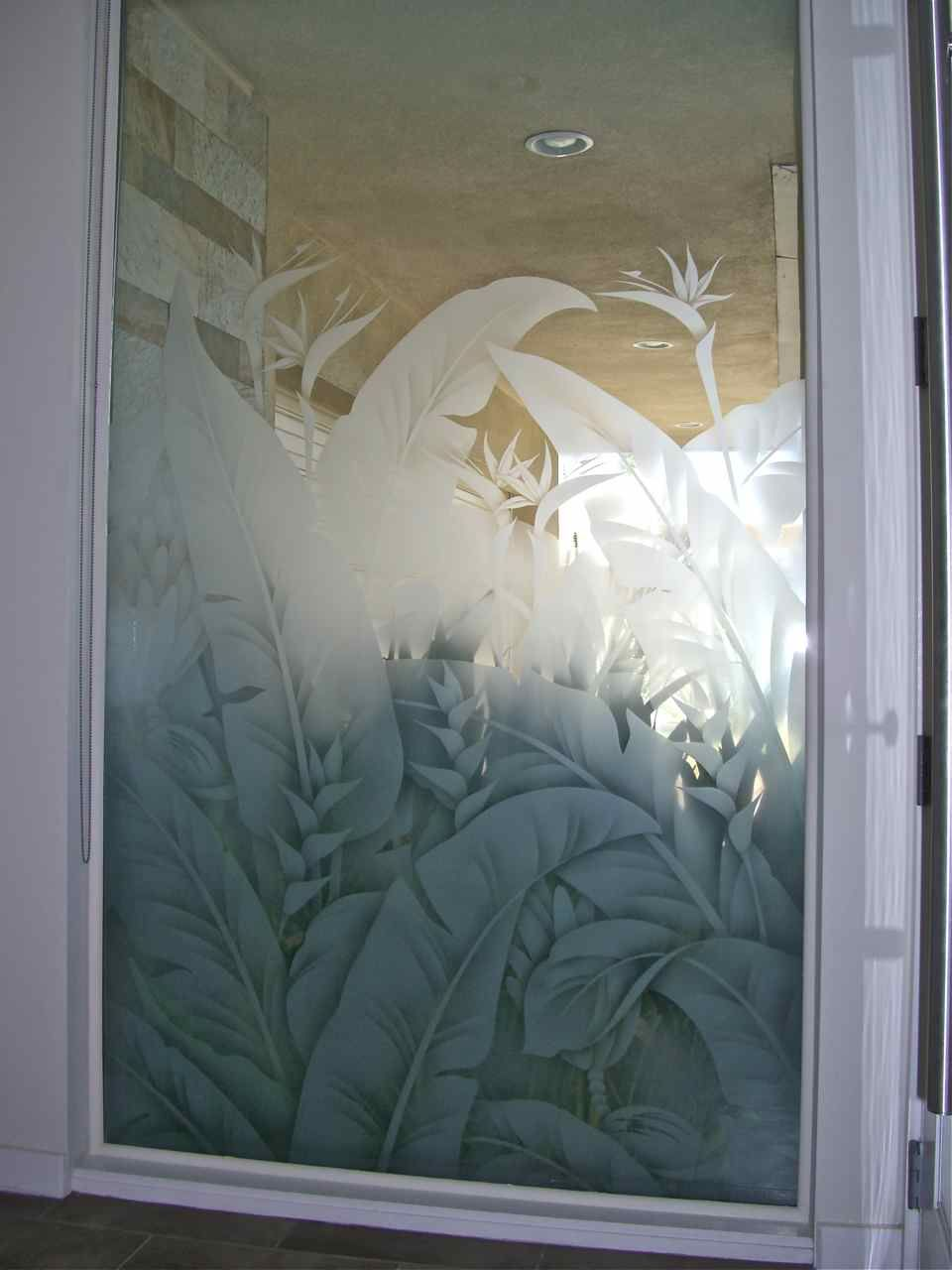 Lovely Etched Window Glass Frosted Tropical Leaves