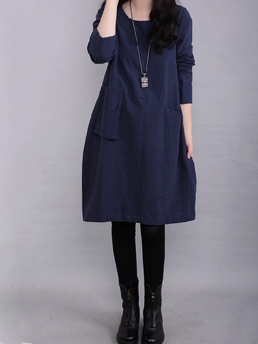 f918bff2425 Shop Dresses - Navy Blue Polyester Casual Crew Neck Dress online. Discover  unique designers fashion at PopJuLia.com.