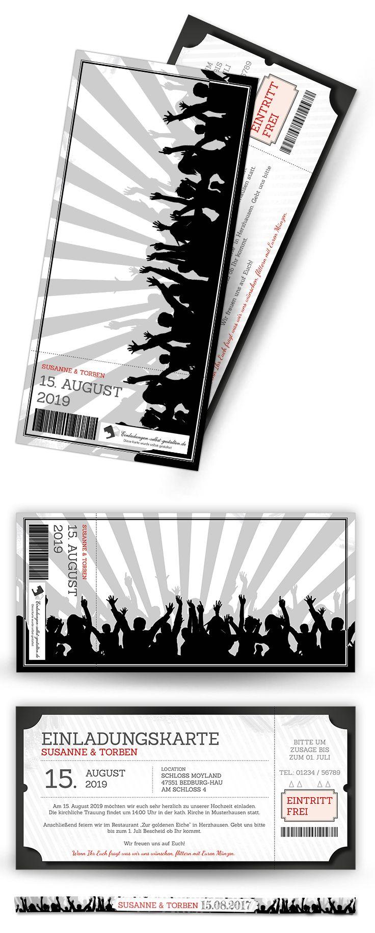 Einladungskarte Als Ticket Mit Passendem Festivalarmband Perfekt Fur Die Mottopartys Festival Einladungen Einladungskarten Ticket Vorlage