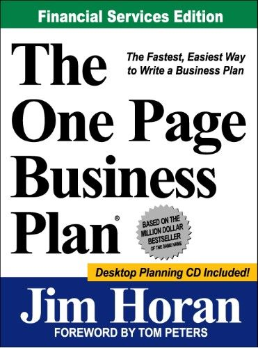 The One Page Business Plan Business planning and Products