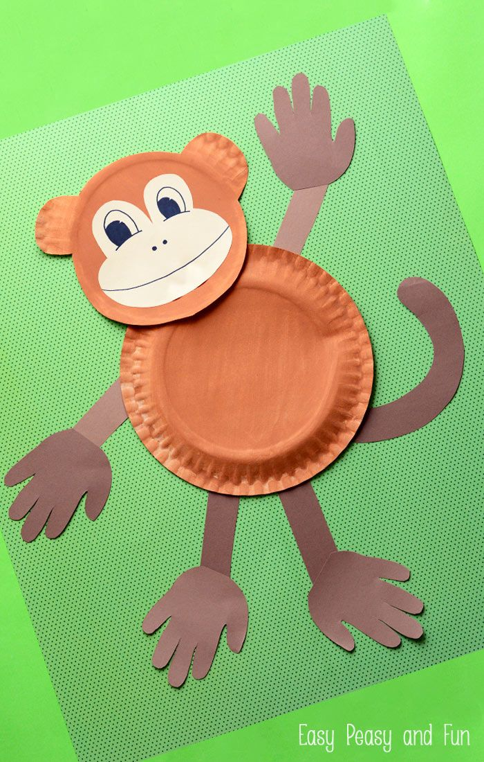 Paper plate monkey fun paper plate crafts for kids for Fun crafts for all ages